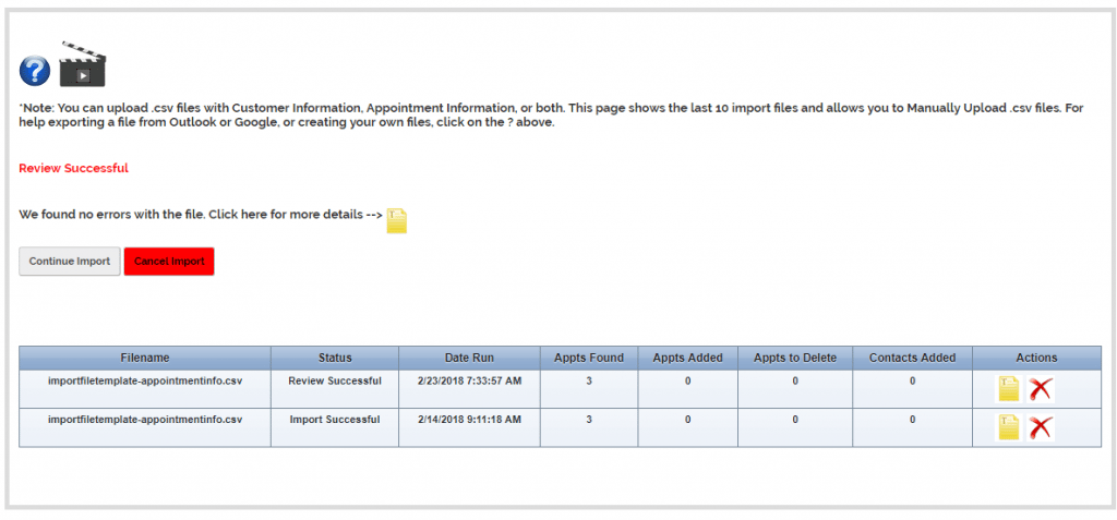 Import File Review Succssful
