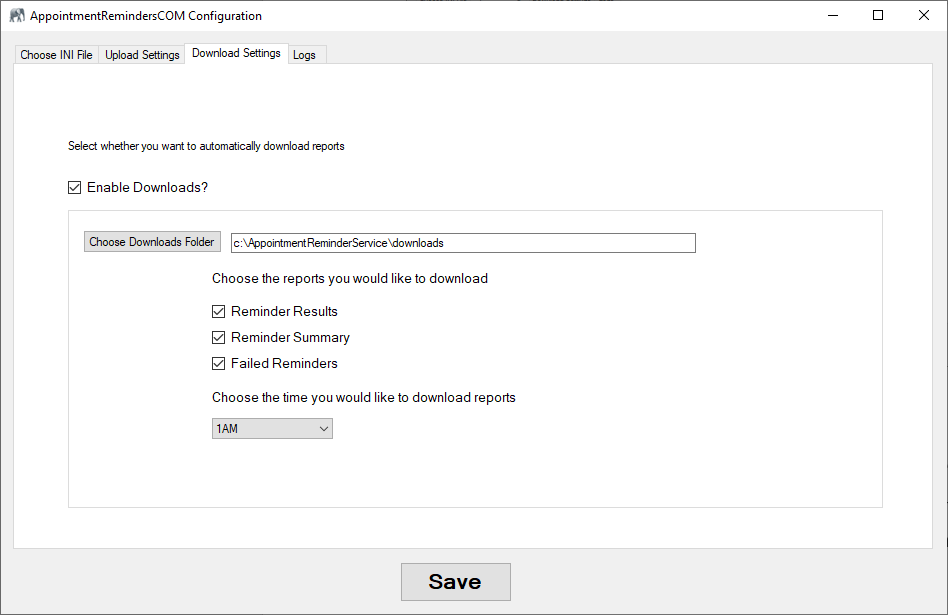 Appointment Reminders Upload Service - Configure Download Settings