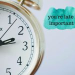 late appointment graphic with alarm clock