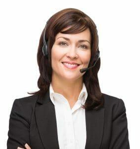 Brunette woman wearing a phone headset