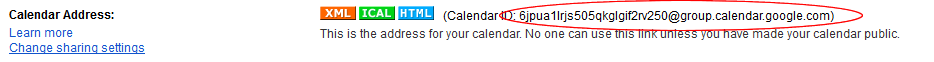 Google Calendar ID