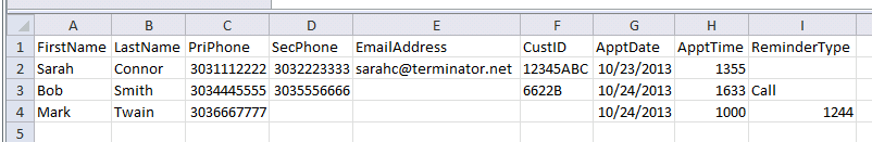 Import Files with Appointment Information