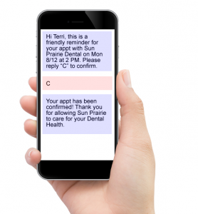 Cell Phone Screen with Text Appointment Reminder