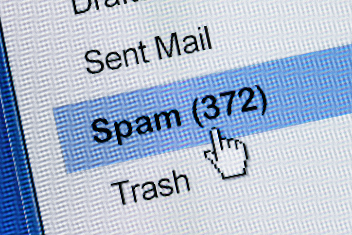 Clicking on email spam folder with 372 items