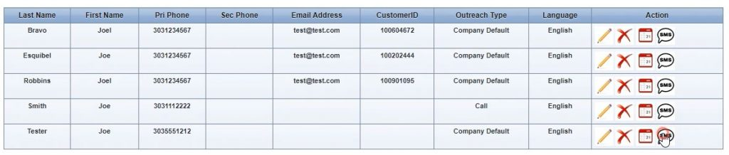 Clicking on customers screen to send an SMS message