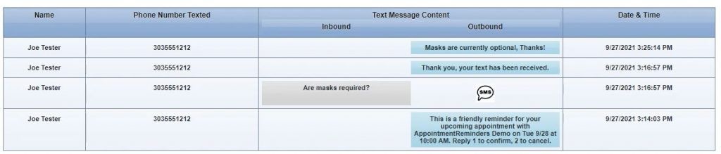 Text message screen showing 2 way texting
