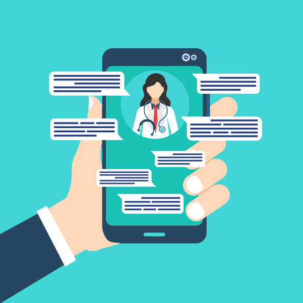 Doctor sending text messages to patients